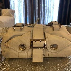 Cream handbag soft leather silver hardware